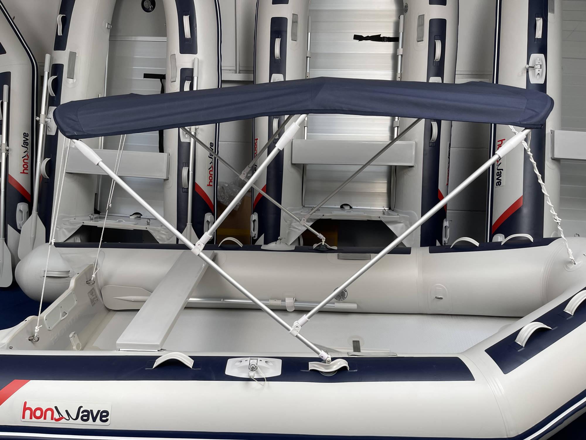 Ma-Sa Schlauchboot Sonnendach 130 cm breite mit drei Streben dunkelblau